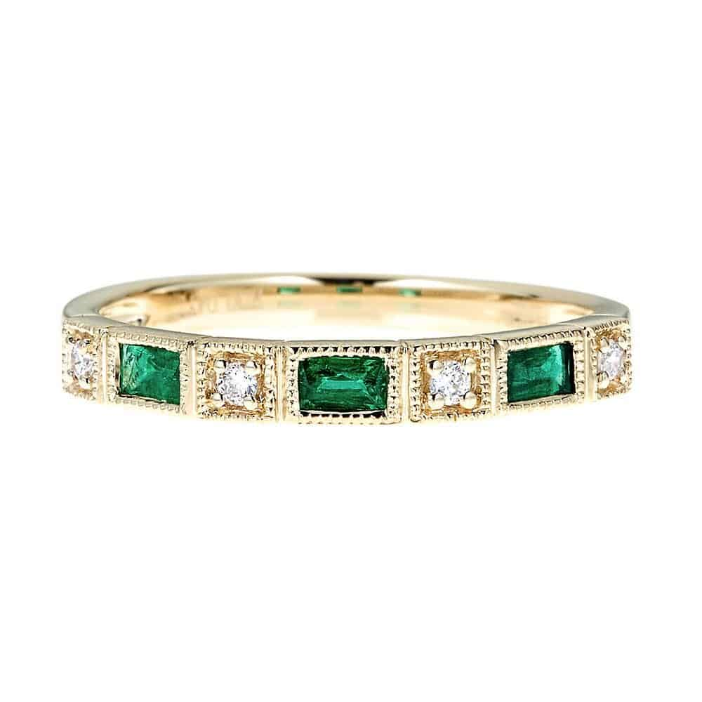 Emerald hers and hers wedding rings from Helzberg