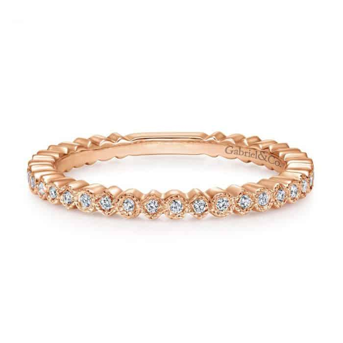 GABRIEL & CO. ROSE GOLD DIAMOND WEDDING BAND 1/10CTW