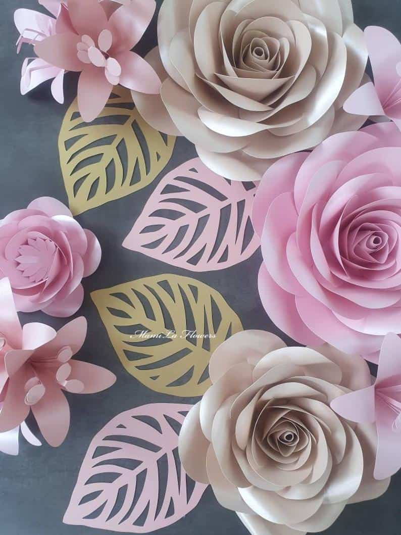 SVG/PNG Paper Flower With Leaves Template