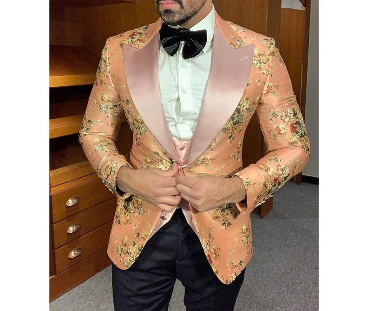 Custom Made to order Men's Pink /Red floral Tuxedo Blazer