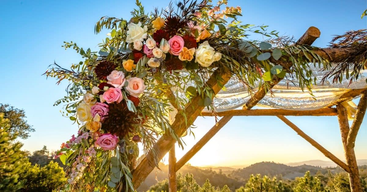 DIY wedding arbor with beautiful flowers