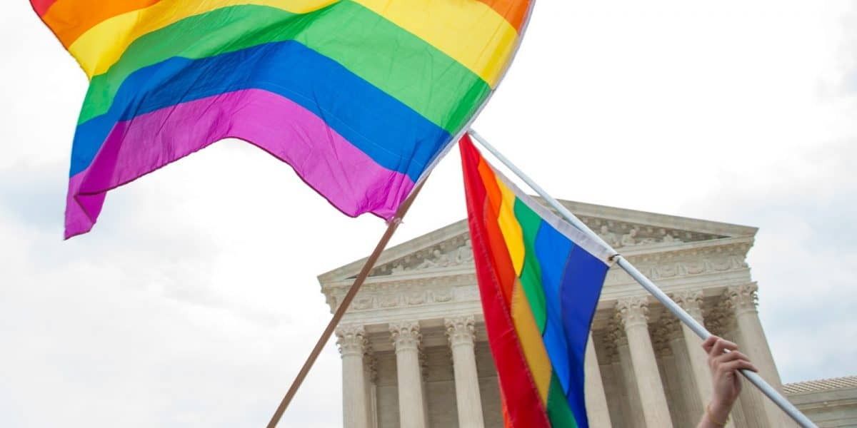 Gay pride flags fly after a landmark decision on same-sex couples rights to marry by the U.S. Supreme Court