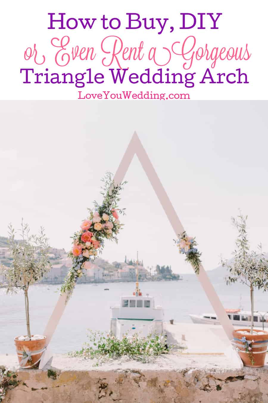 Want to include one of those stunning triangle wedding arches you keep seeing? Check out our guide for how to build, buy or rent one!