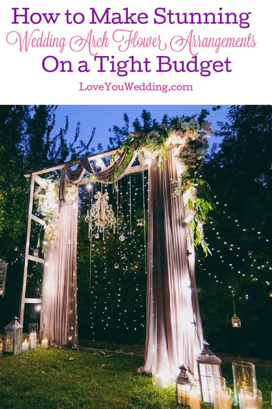 Learn how to create stunning wedding arch flower arrangements even if you're on a very tight budget. Check it out!