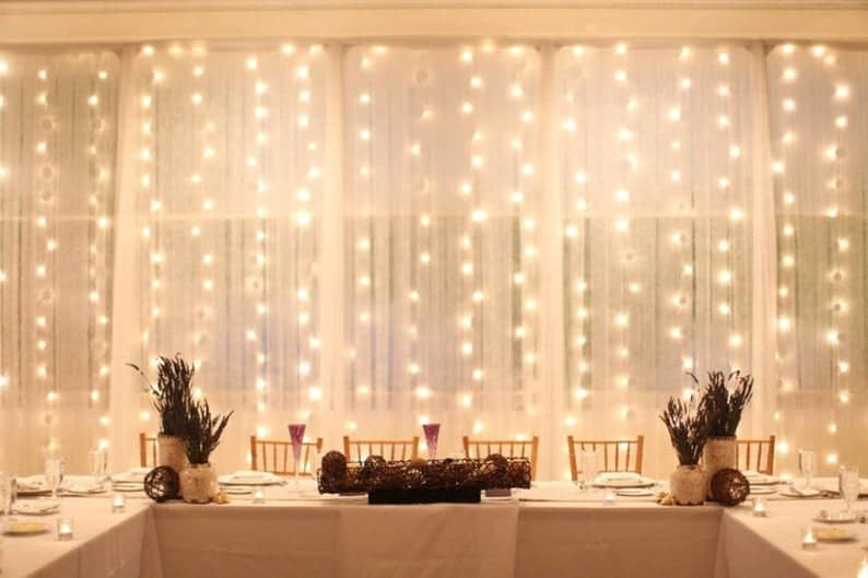 curtain style lights, perfect for wedding arches with lights