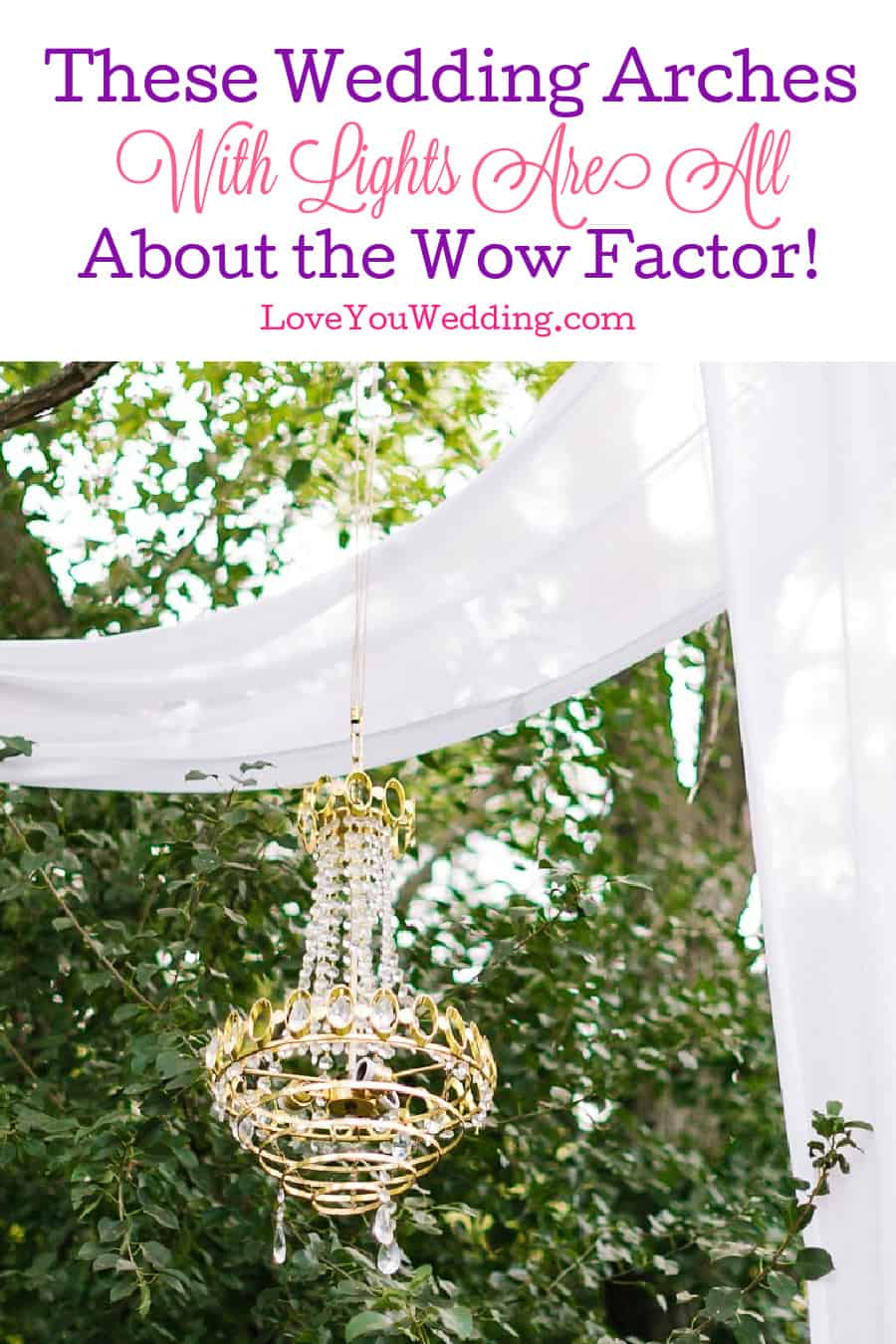"""If you're looking for ways to really crank up the """"wow factor"""" of your nighttime nuptials, take a look at these stunning wedding arches with lights!"""