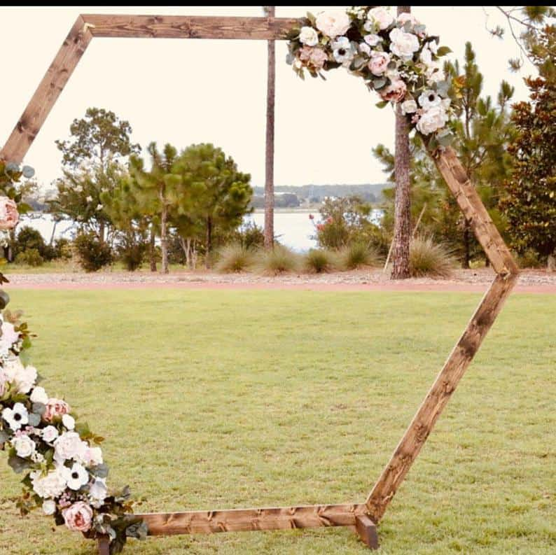 Wooden hexagon wedding arhc