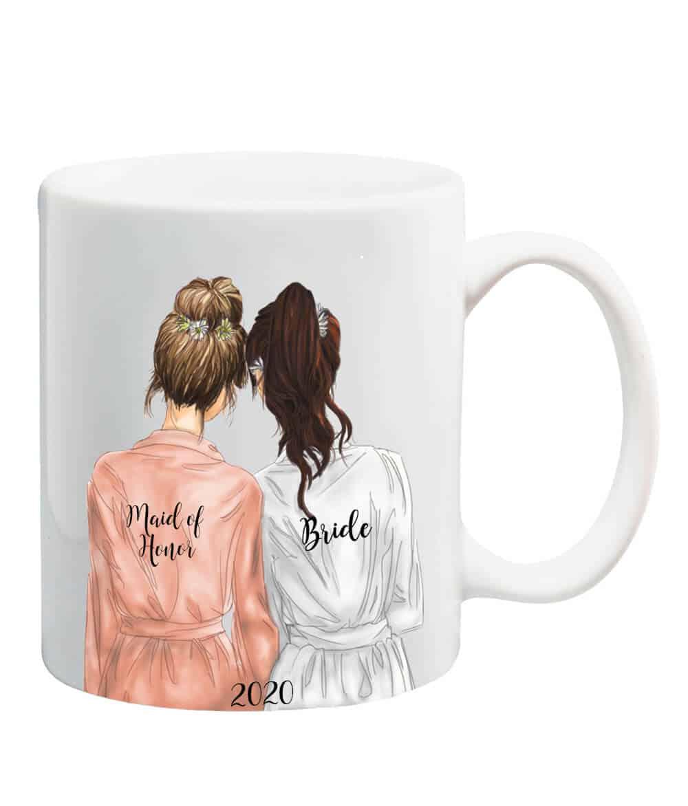 Custom bride and maid of honor mug