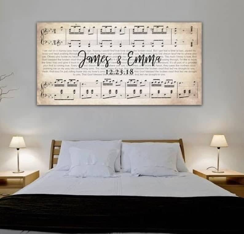 Personalized Wedding Music Art Print, one of our favorite wedding gifts for a bride from a maid of honor.