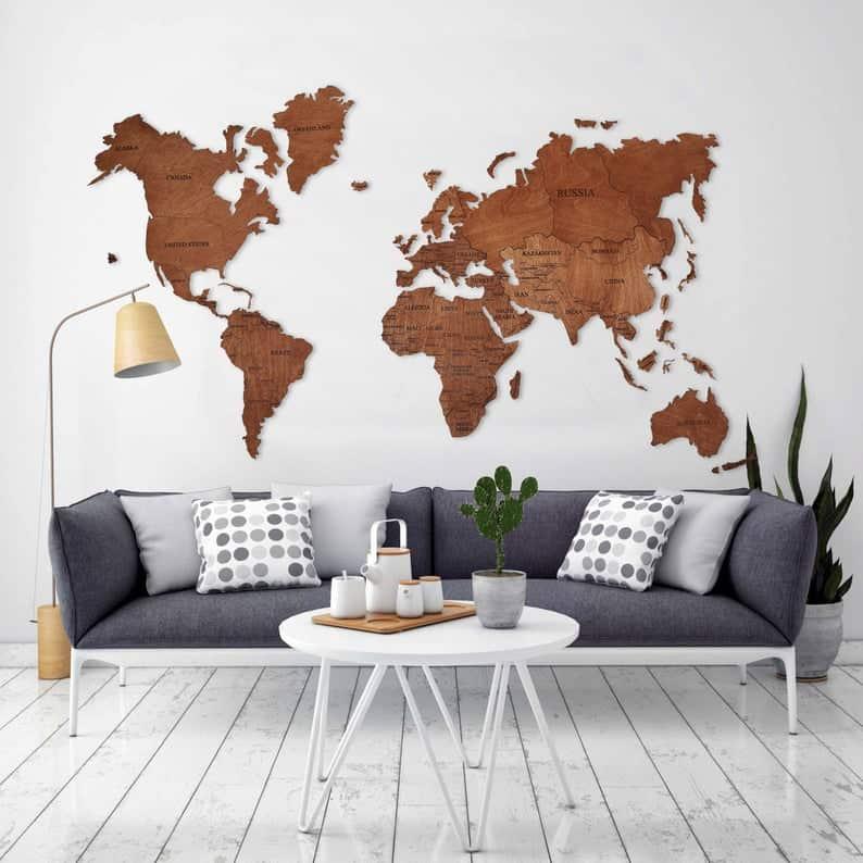 World Map Wall Art Wood