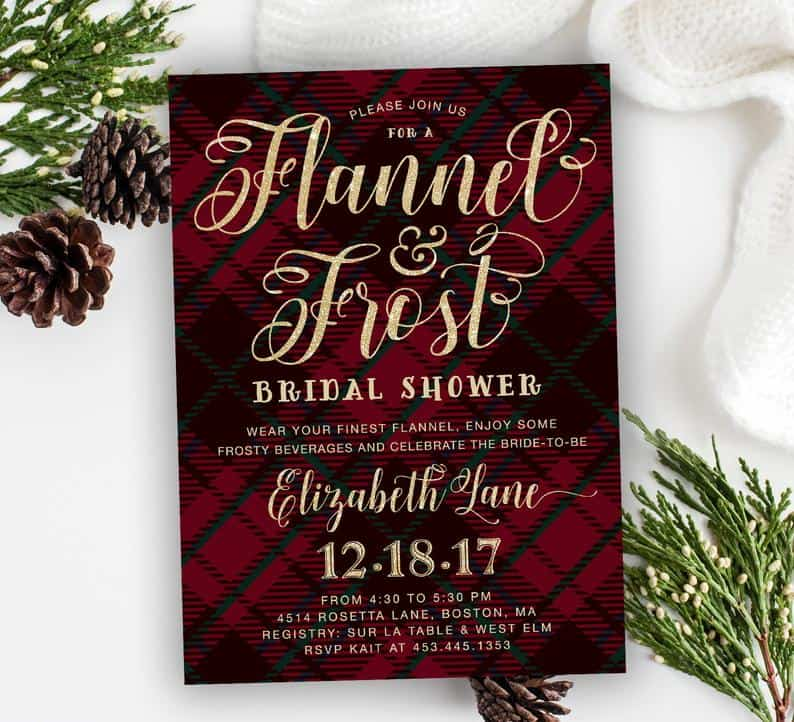 Flannel and Frost: Winter Bridal Shower Invitation for a Christmas lesbian bachelorette party