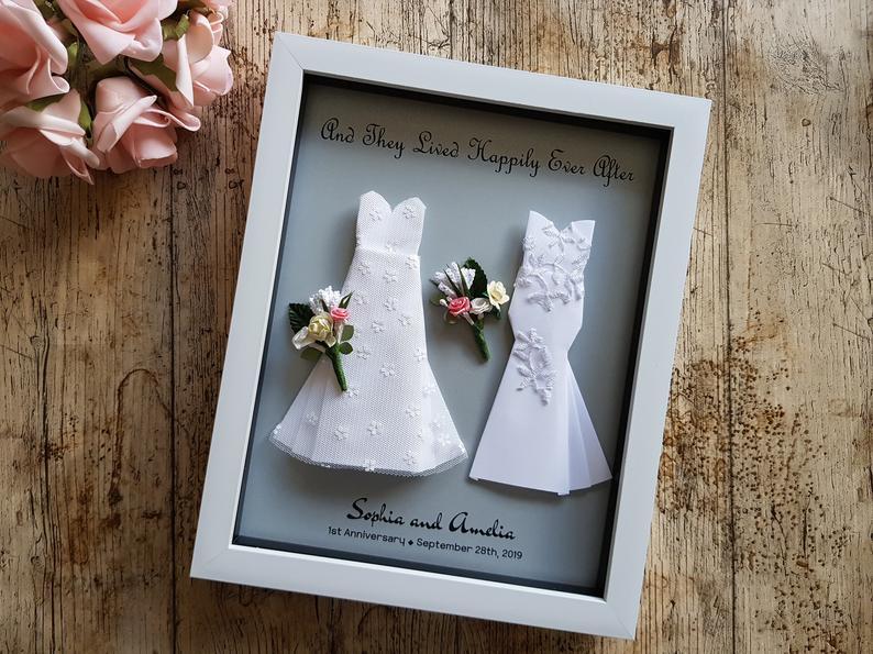 Custom Lesbian Origami Art Wedding Gift