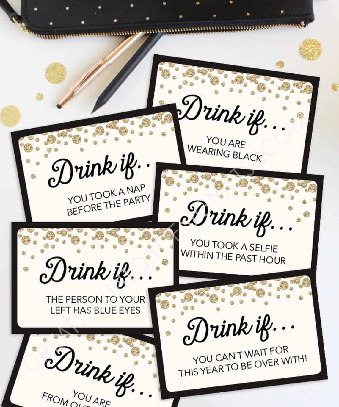 New Years Eve Game Drink If Game Printable New Year's | Etsy