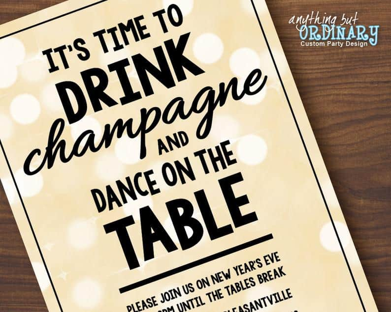 Drink Champagne and Dance on the Table Invitation |