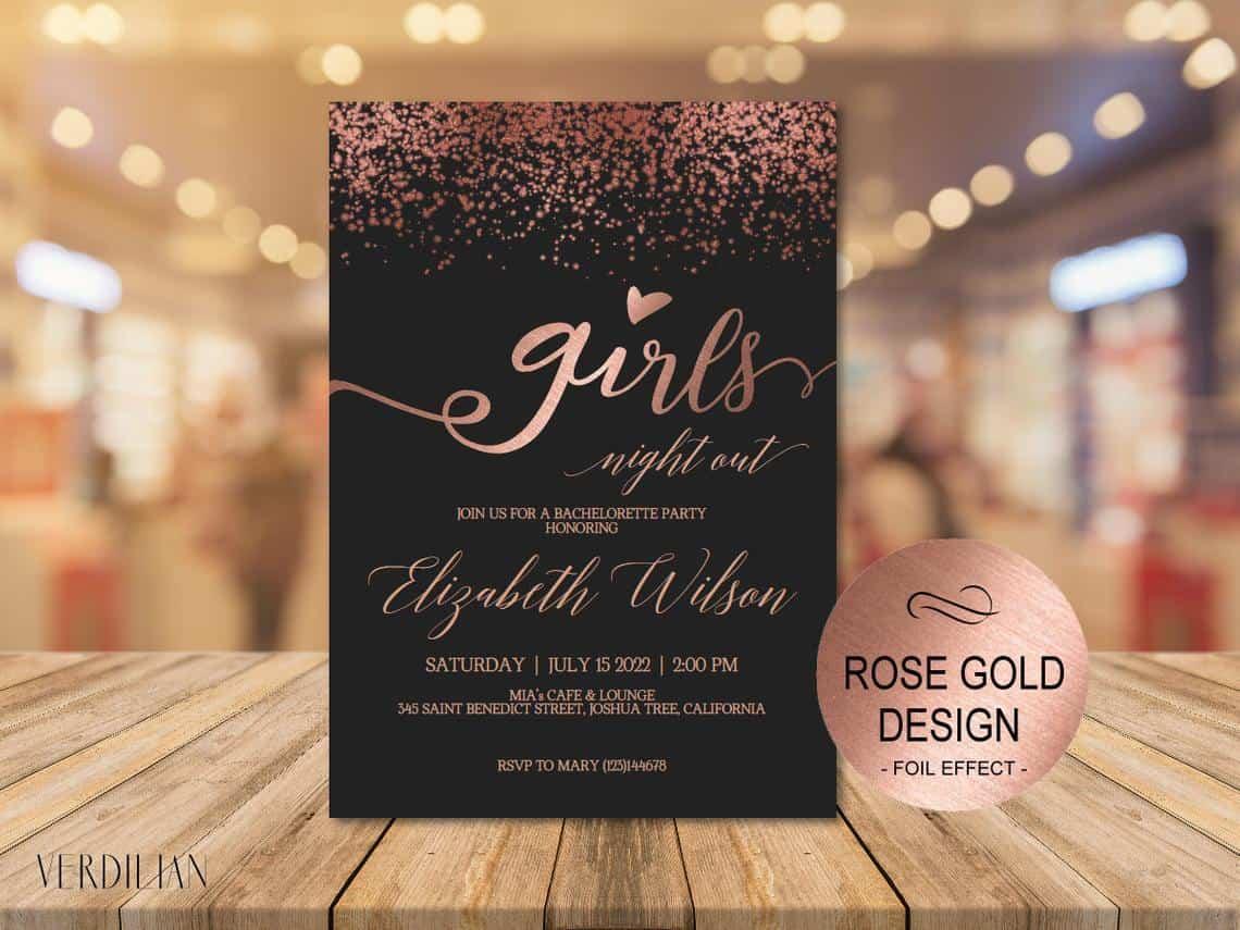 Rose Gold Glitter Invitation