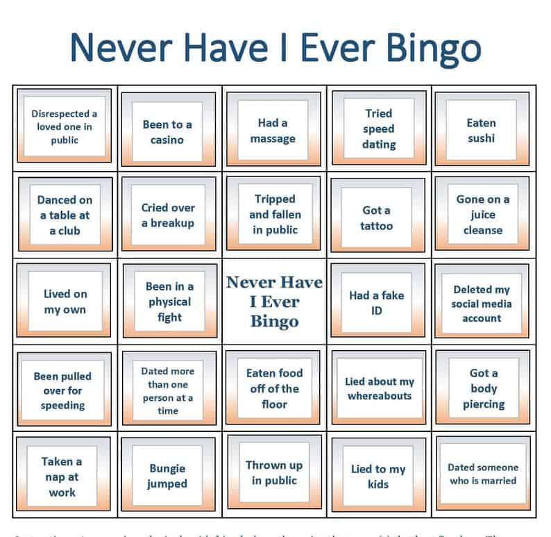 Never Have I Ever Bingo