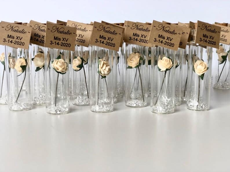 Mini White Roses Favors for Guests