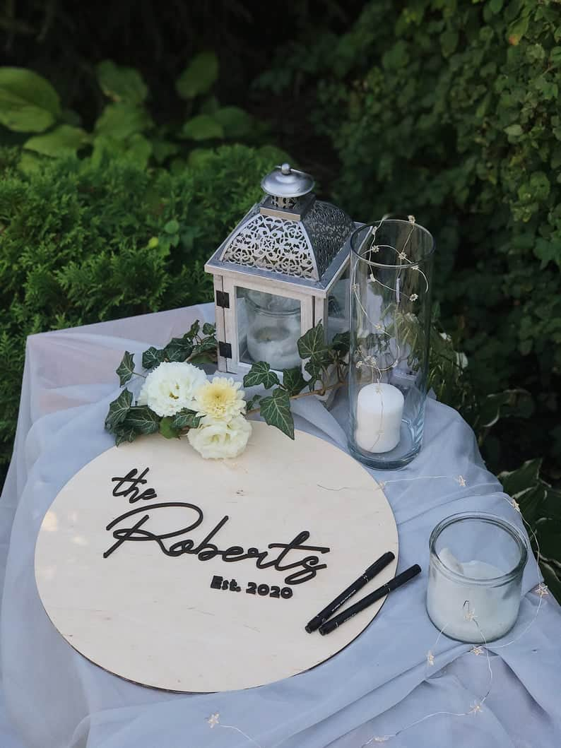 Wooden Guest Book for drive-by engagement party ideas