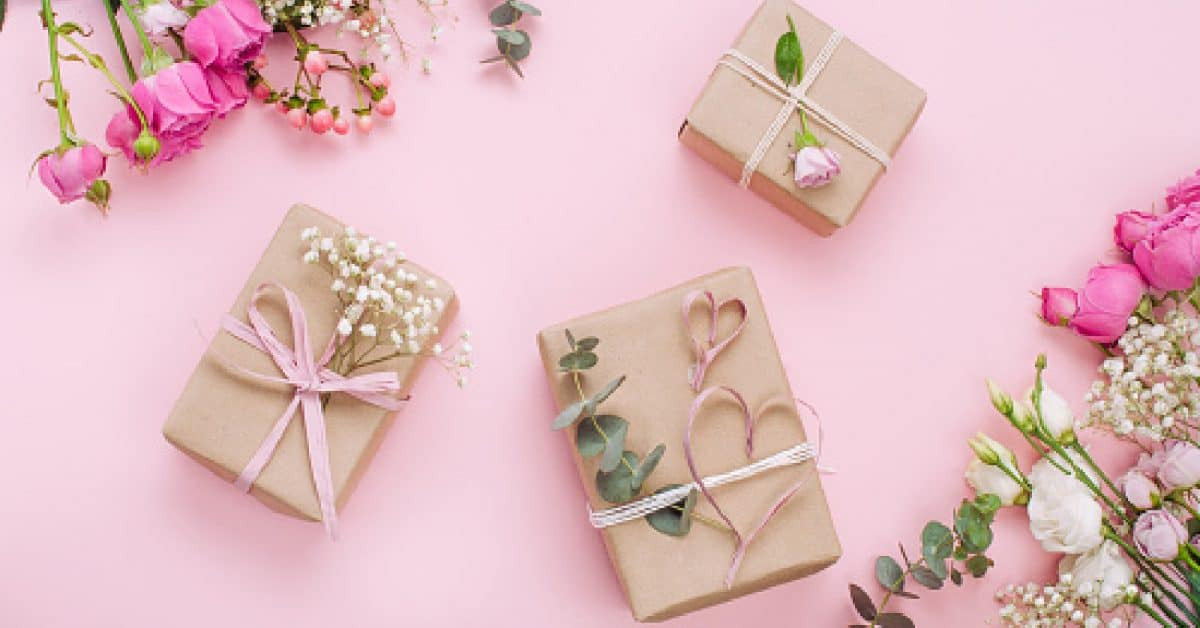 Wedding gifts wrapped up in craft paper