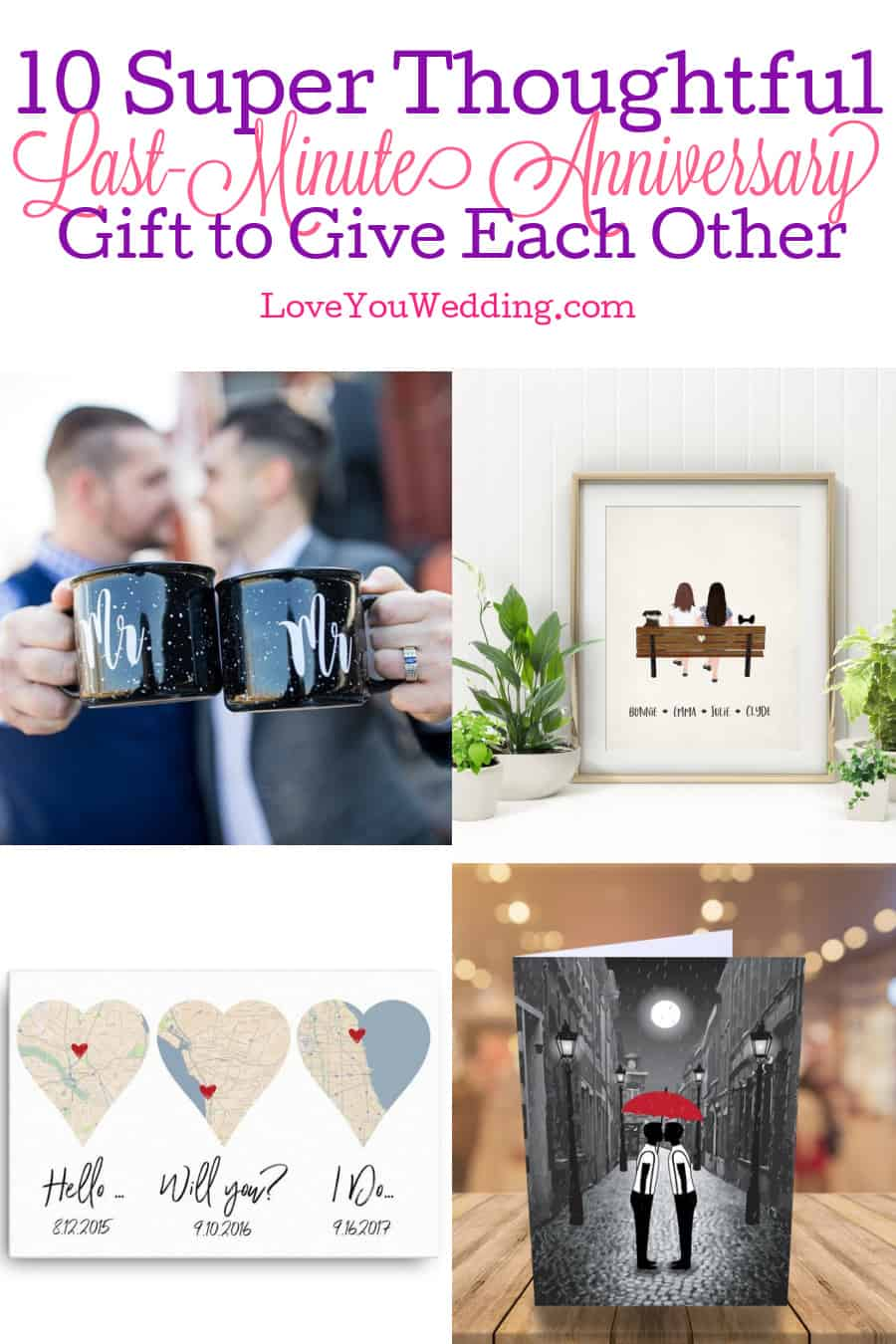 If you're searching for last-minute wedding anniversary ideas - we've got you covered! Check out 10 great gifts for gay and lesbian couples!