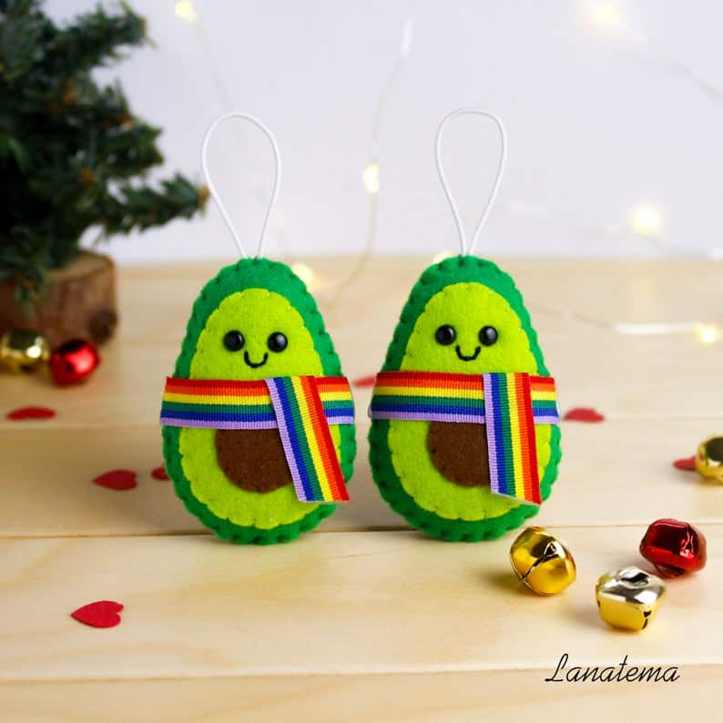 LGBT Avocado Gay Pride Christmas Ornament