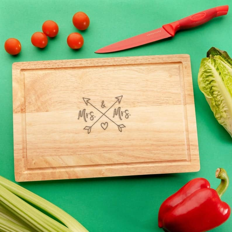 """Engraved """"Mrs and Mrs"""" Wooden Chopping Board"""