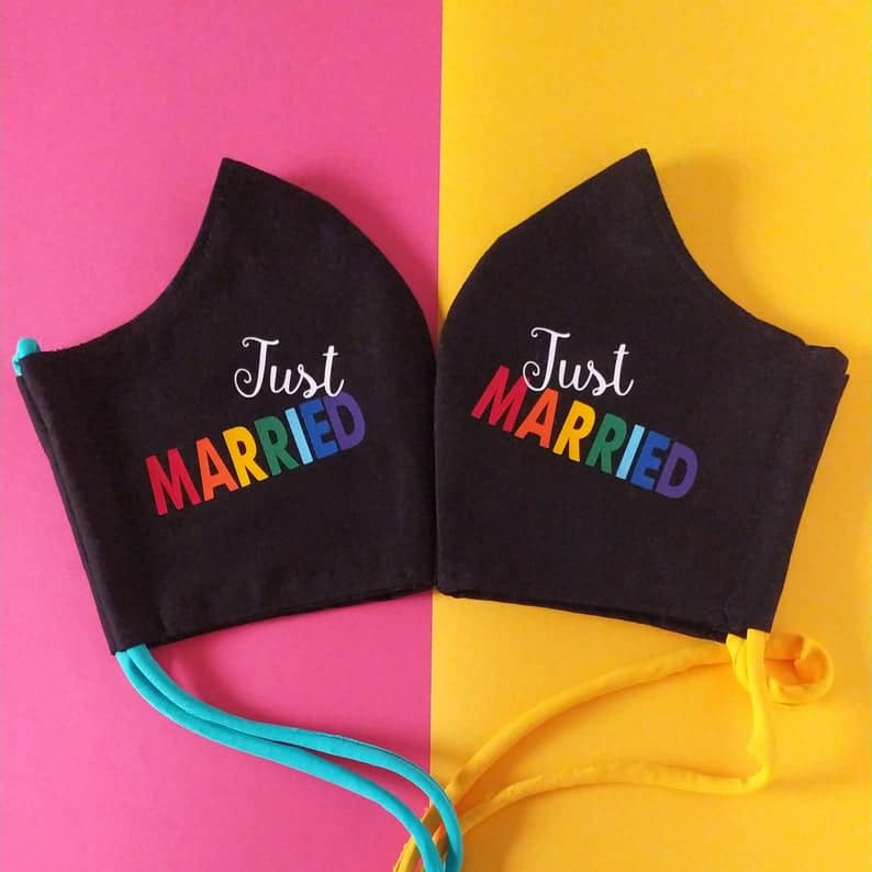 Just Married LGBTQ Personalized Wedding Face Masks