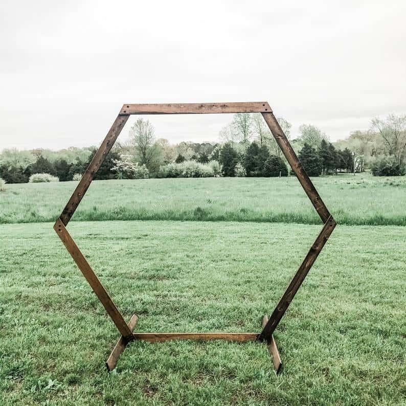 geometric wood portable arch for wedding