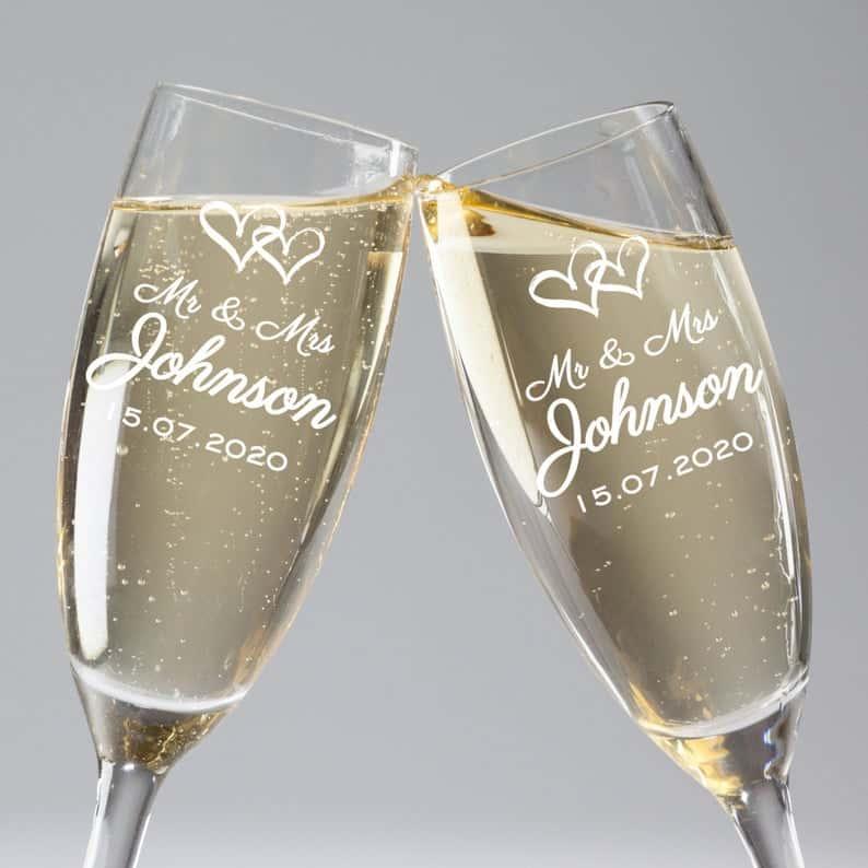 Engraved  Champagne Flutes