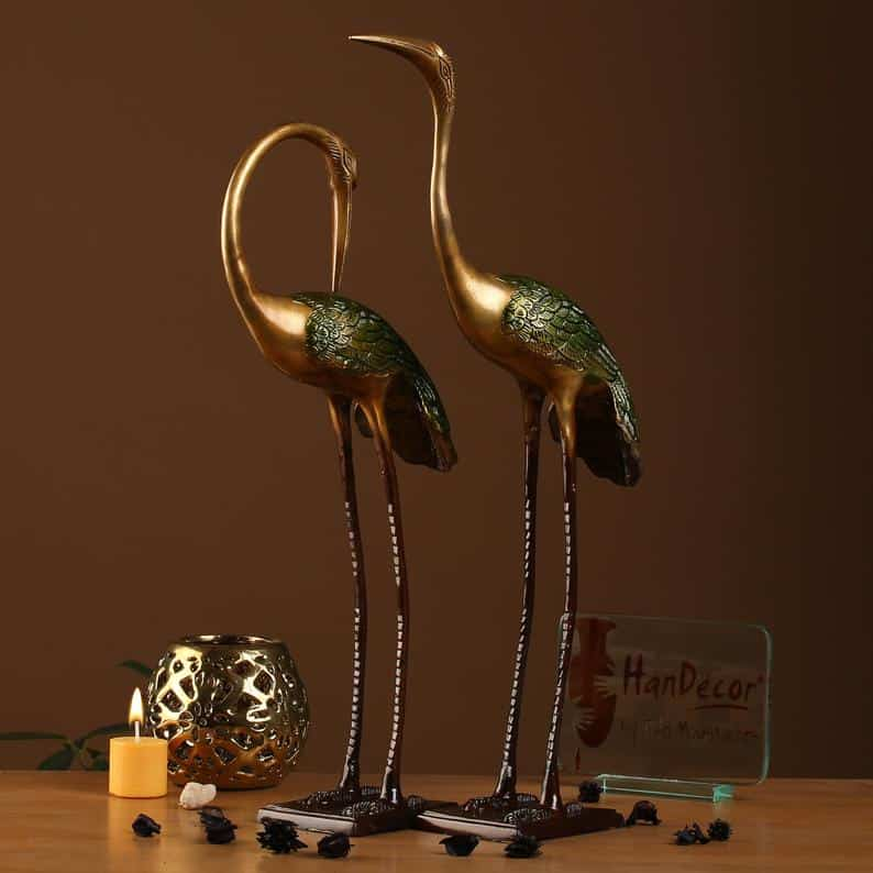 Love Cranes Pair Brass Flamingo Showpiece Pair