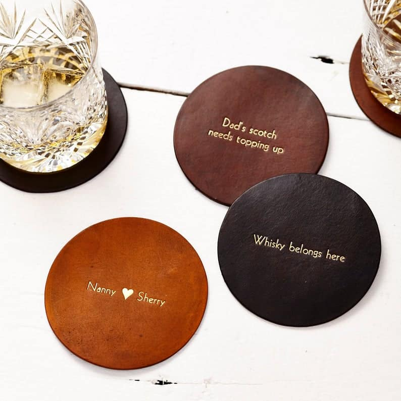 Vintage Style Leather Coaster - Personalised gifts for the home, personalized handmade leather gifts