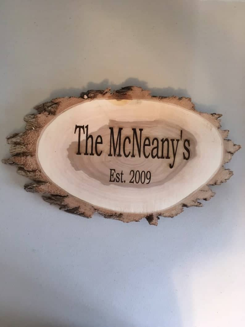 Personalized Engraved 9 inch x 12 inch Willow Wood Slice