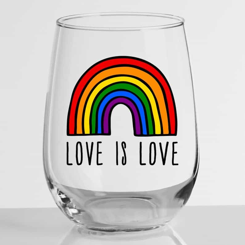 Love is Love Stemless Wine Glass | Etsy