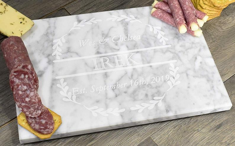 Personalized Custom Engraved Marble Cutting Serving Charcuterie Board