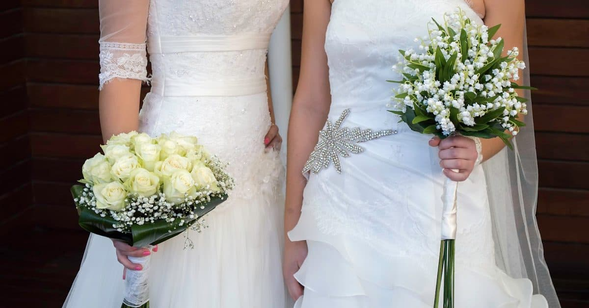 close up of wedding of a same-sex couples