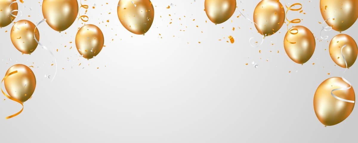 Virtual Bachelorette Party Décor Ideas Zoom background with gold balloons.
