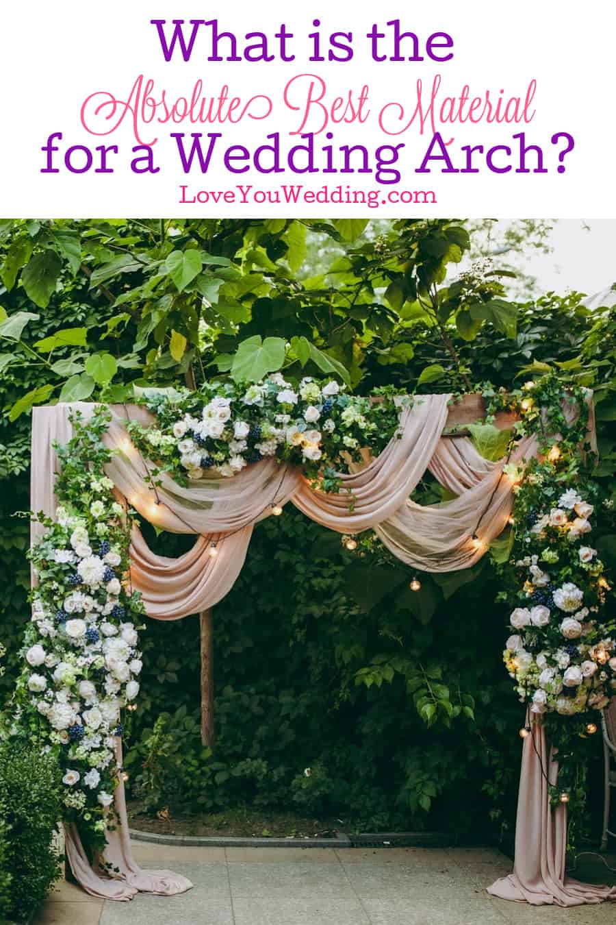 What is the best fabric for a wedding arch? The answer depends on your budget, the look you want, & more. Read on for our guide to choosing!