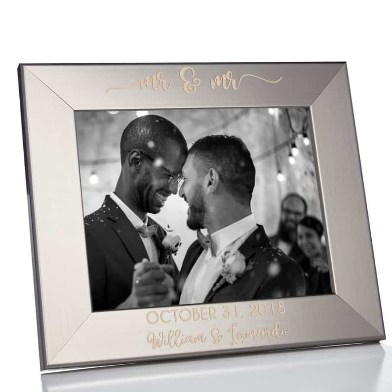 Personalized Mr. & Mr. Wedding Picture Frame Silver 8 | Etsy