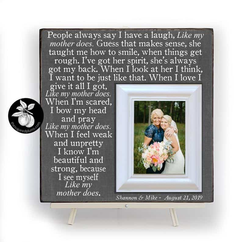 Unique Mother of the Bride Gift, Personalized Frame for Mom