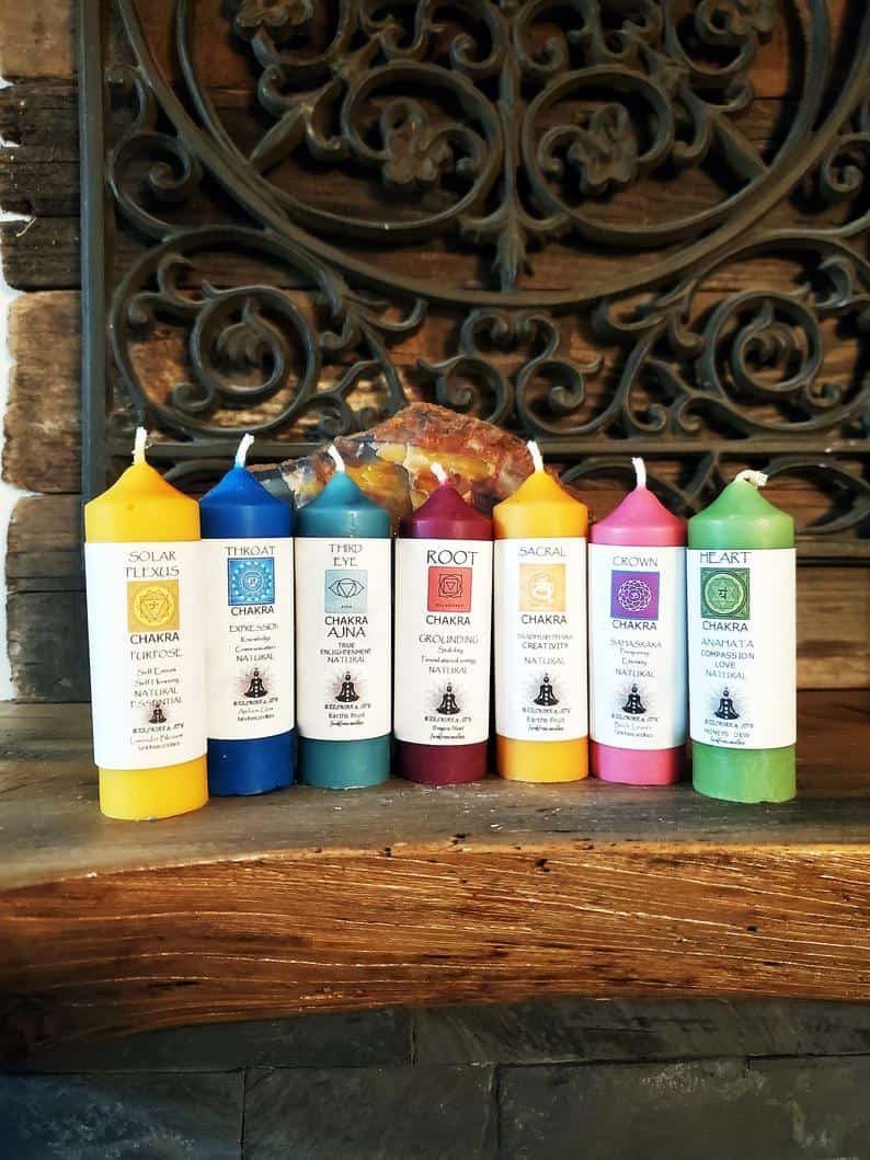 FUNK FREE Chakra SeT 7 BeeSwax Candles Hand-poured NonToxic | Etsy