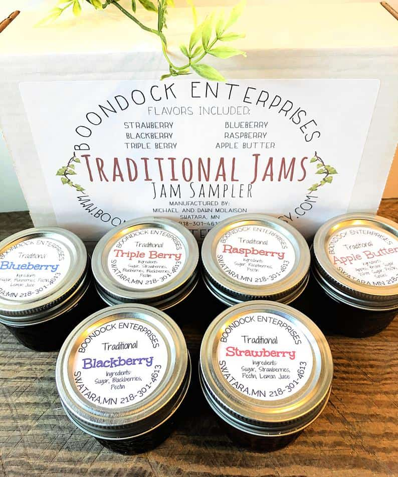 Traditional Jam Sampler Gift Box Six 4 oz Jars of Assorted | Etsy