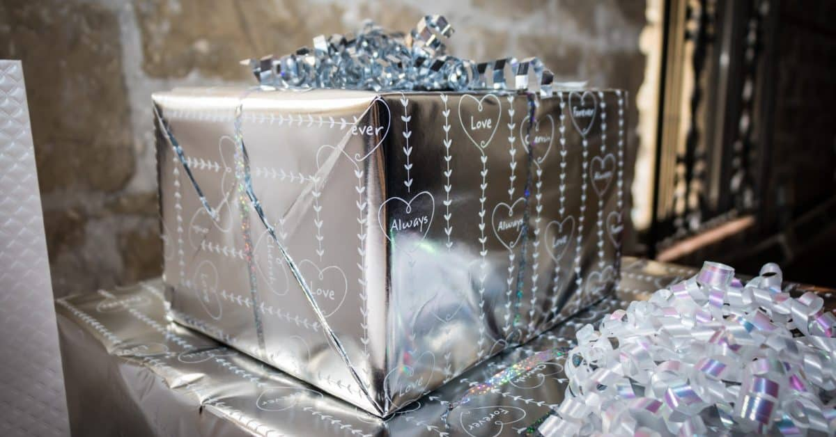 A stack of touching wedding gifts.