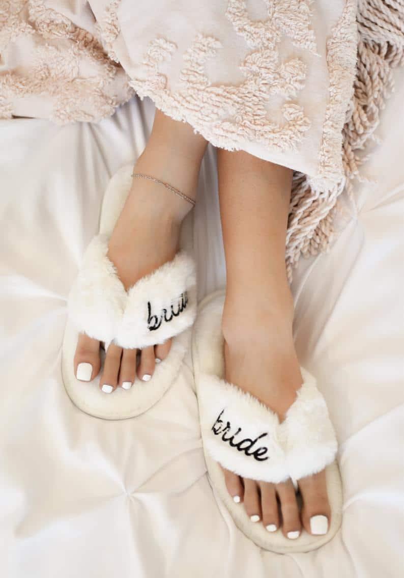 Wedding Slippers Bride Slippers Bridal Shower Gift Cute Bride | Etsy