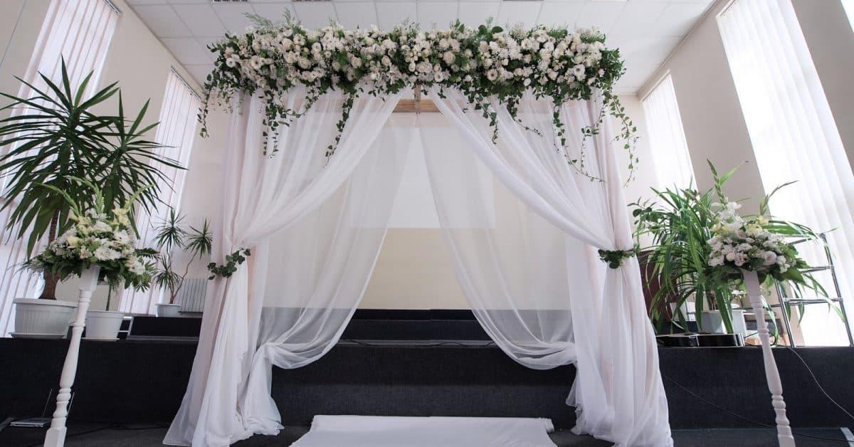white wedding arches