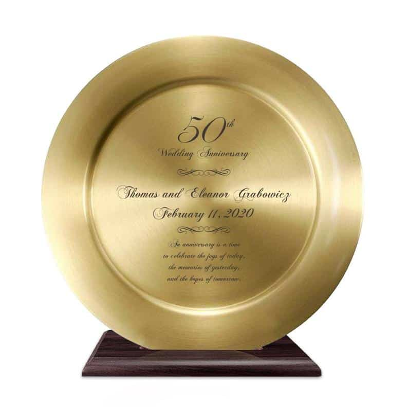 Personalized 50th Anniversary Solid Brass Plate