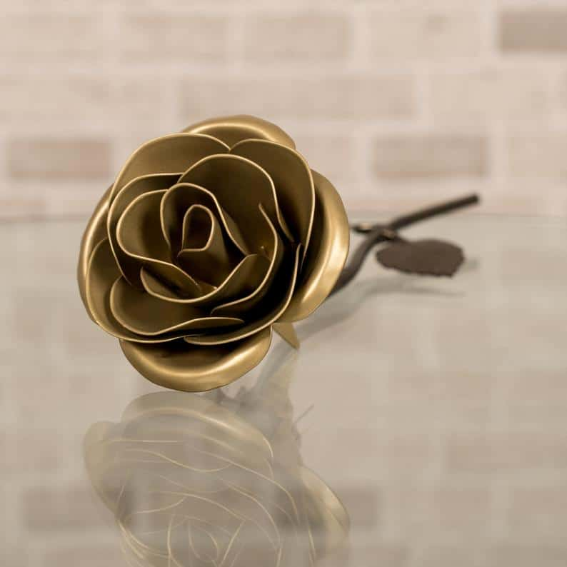 Personalized 50th Anniversary Hand-Forged Gold Rose