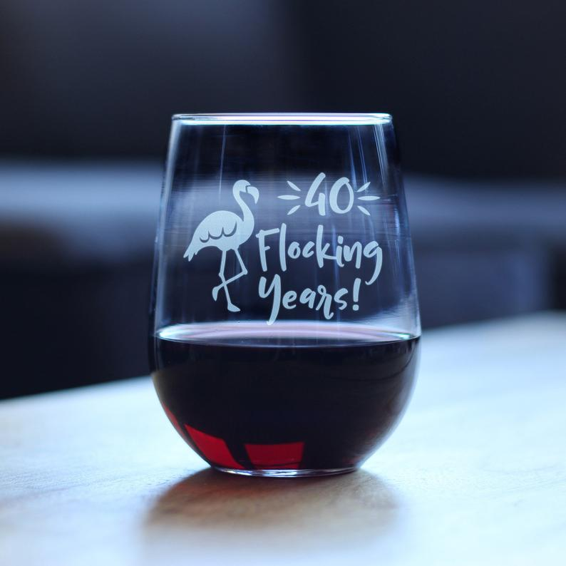 Forty Flocking Years Cute Funny Flamingo Stemless Wine   Etsy