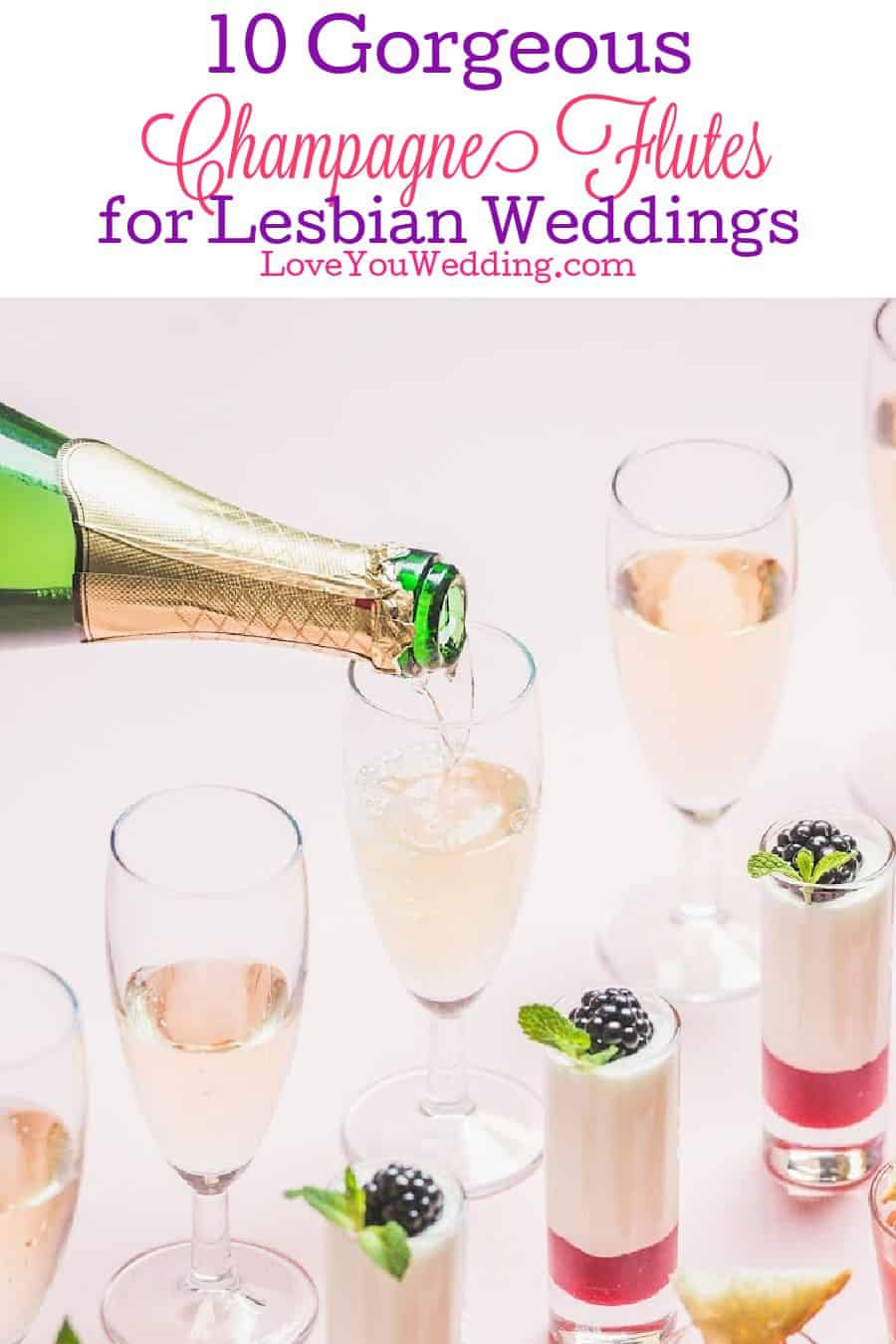 Looking for some gorgeous lesbian wedding champagne flutes? Check out 10 that we think are just perfect for toasting to your big moment!