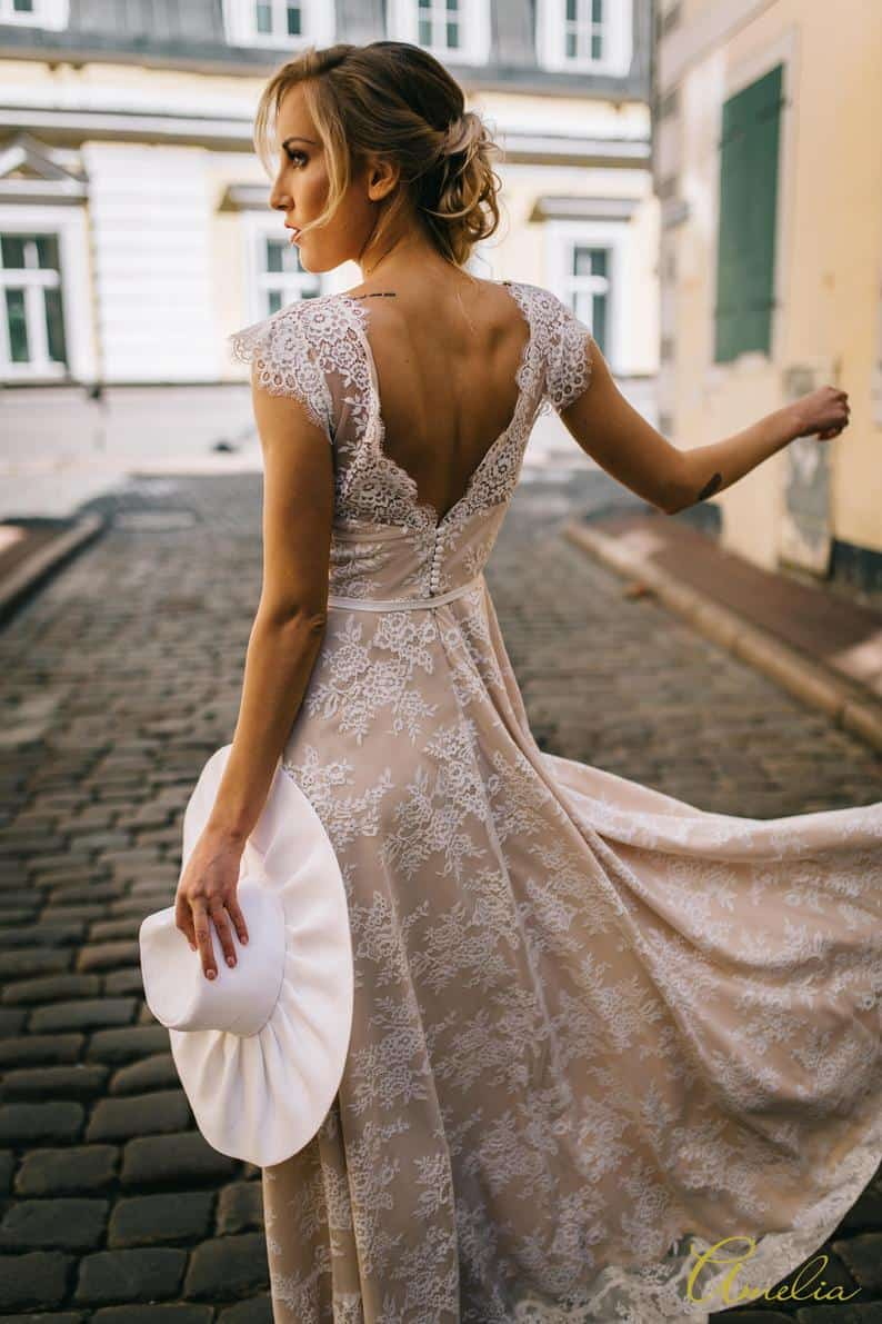 Lace Minimony Wedding Dress