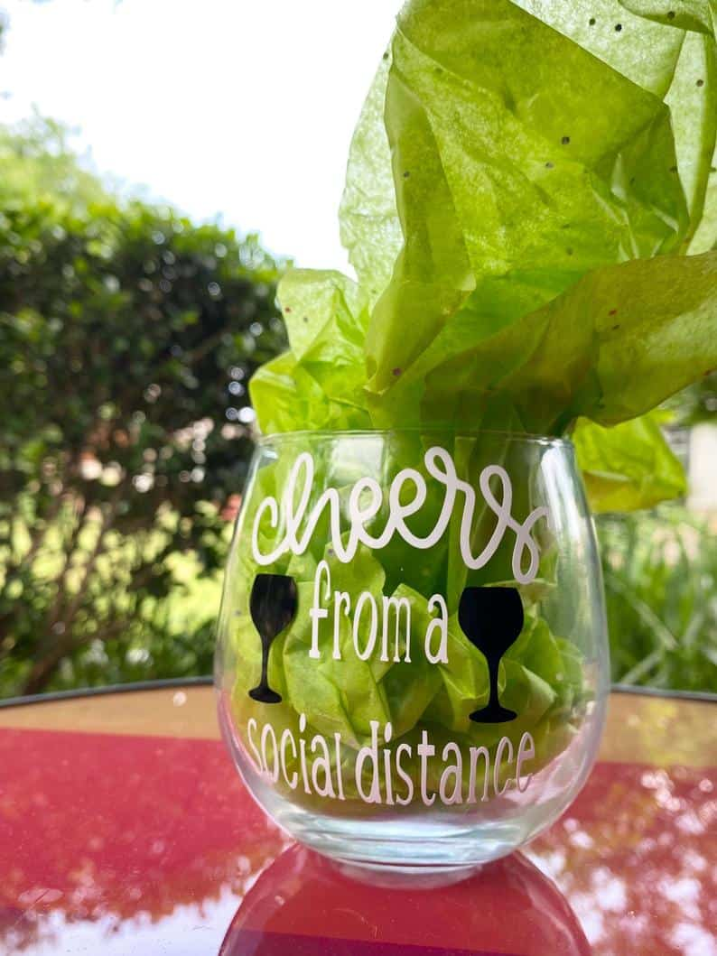 Cheers from a social distance virtual bachelorette party decor ideas.
